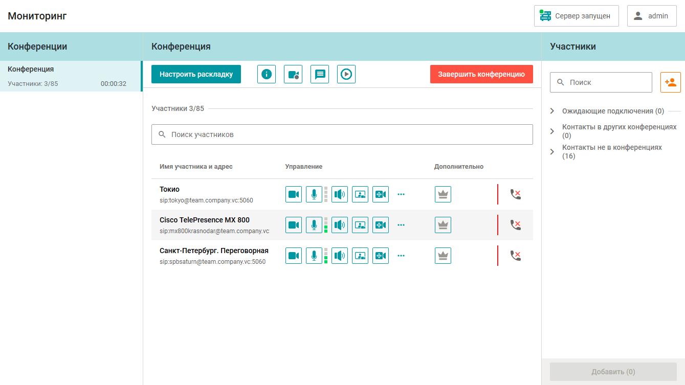 TrueConf MCU - управление терминалами видеосвязи